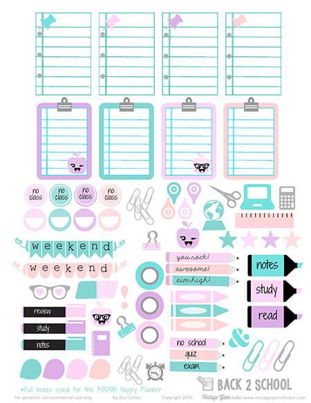 Back 2 School Planner Stickers Free Printable Vintage Glam Studio