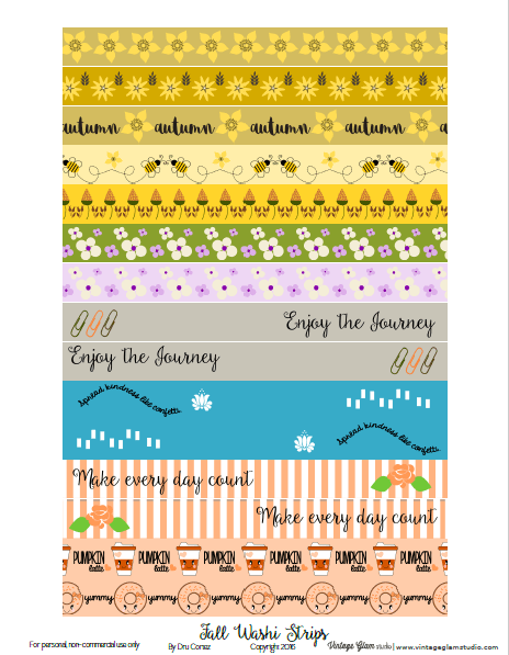 Fall washi tape printable