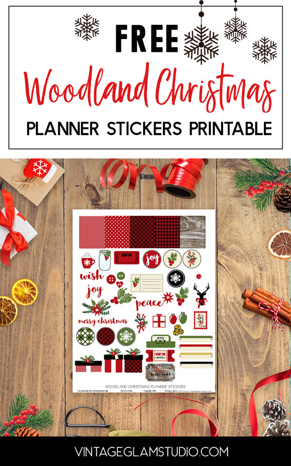 woodland christmas planner stickers