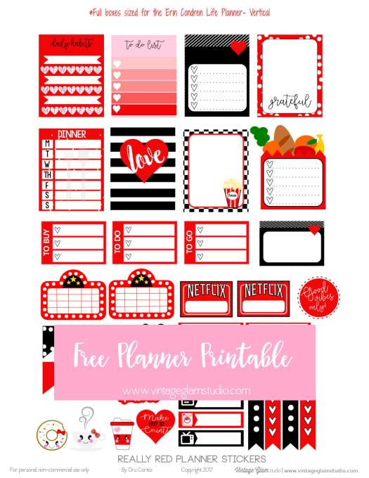 Really Red  planner stickers printable preview