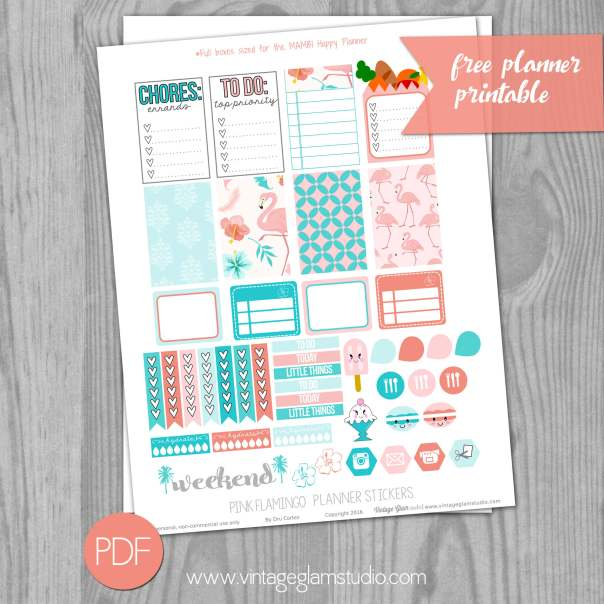 Pink Flamingo Planner Stickers preview