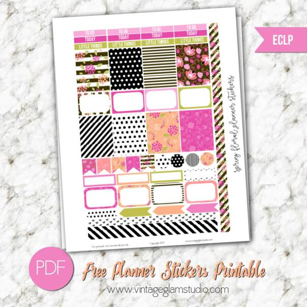 Spring Floral Planner Stickers | Free printable for the erin condren