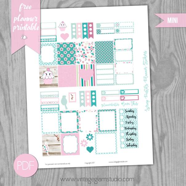 Spring-Pastels-Planner Stickers - Mini Happy Planner