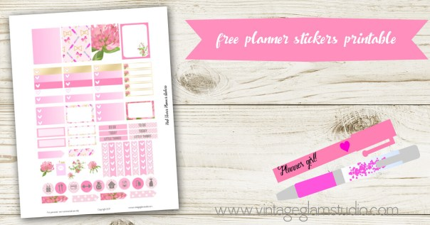 Pink Clover Planner Stickers | Free printable