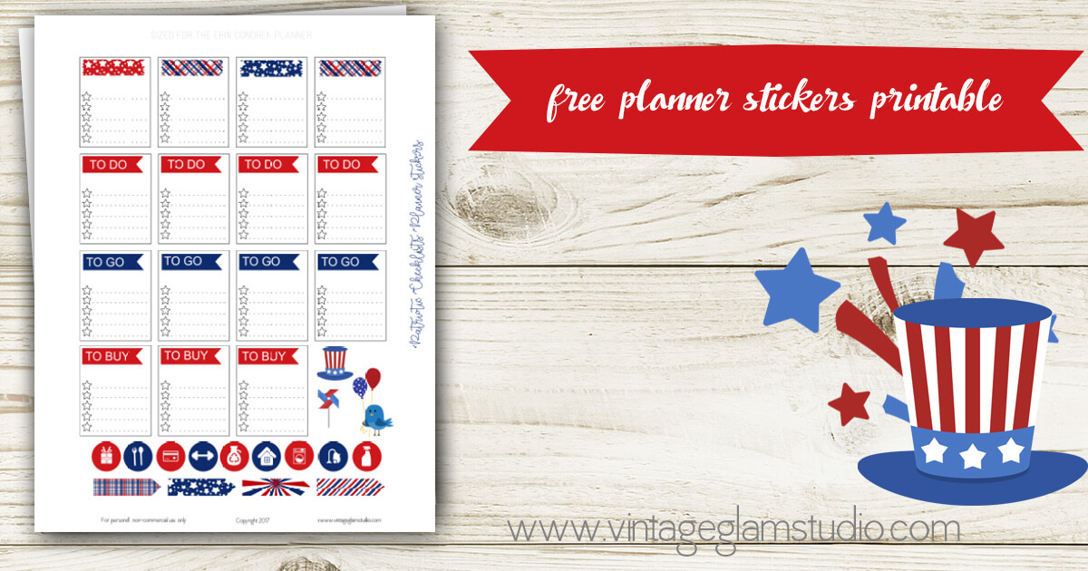 Patriotic Checklists Planner Stickers Free Printable