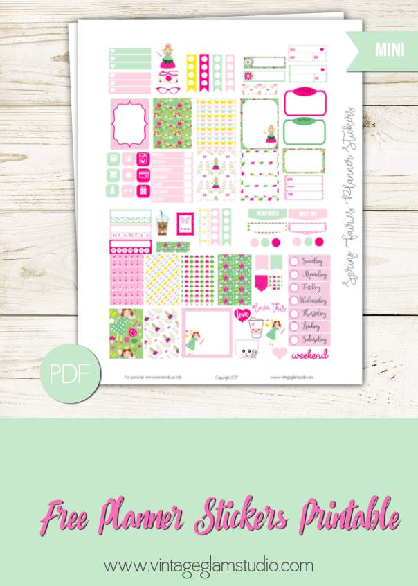 Spring Fairies Planner Stickers | Free printable for personal use only