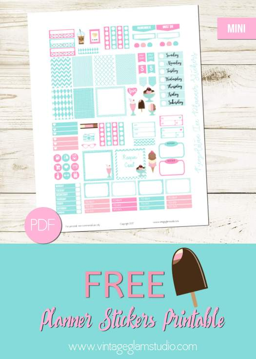 Free mini happy planner stickers printable for personal use only