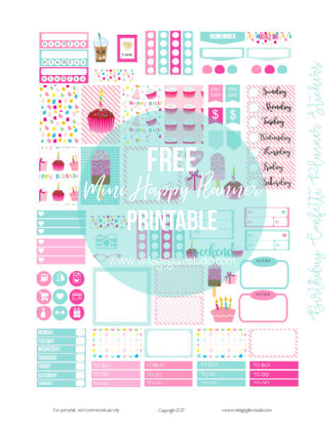 Birthday confetti planner stickers for the mini happy planner