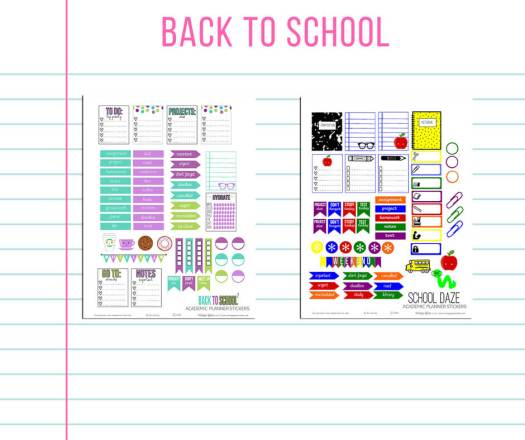 Free School themed printables for the Erin Condren planner, free for personal use