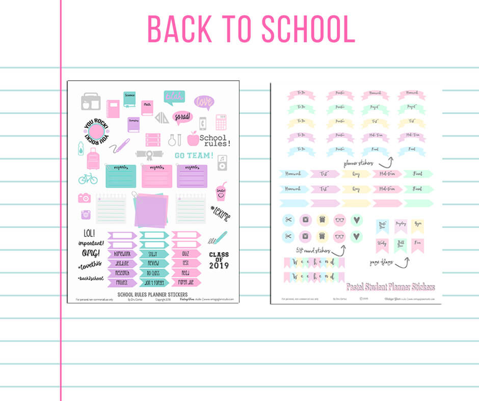 photo about Free Printable School Planner known as College or university Suggestions Planner Stickers - No cost printable - Traditional