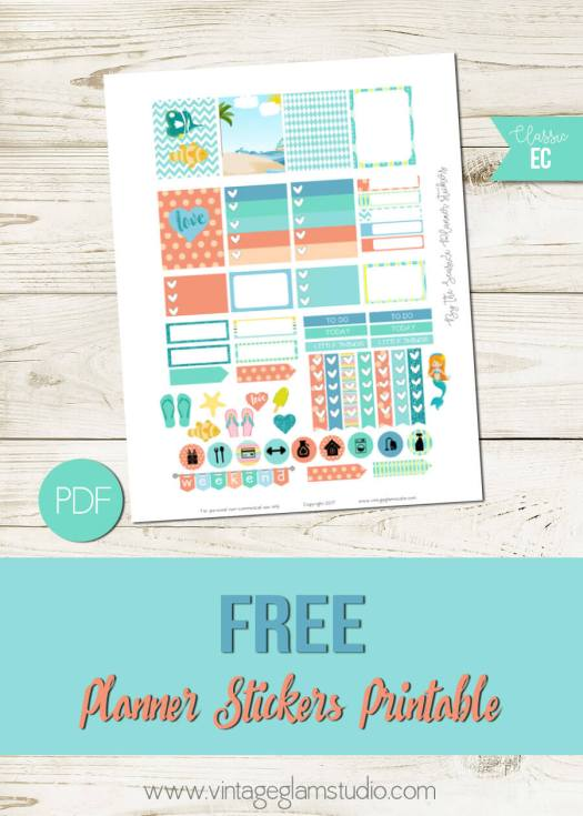 By the Seaside | Free planner stickers printable, free for personal use