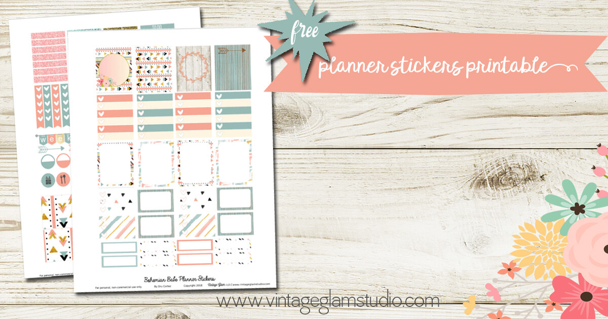 Bohemian Babe planner stickers