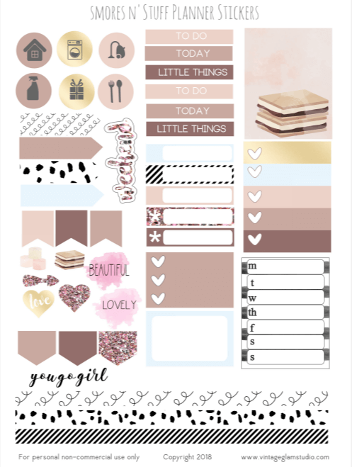 Smores n' Stuff   Cricut ready planner stickers printable