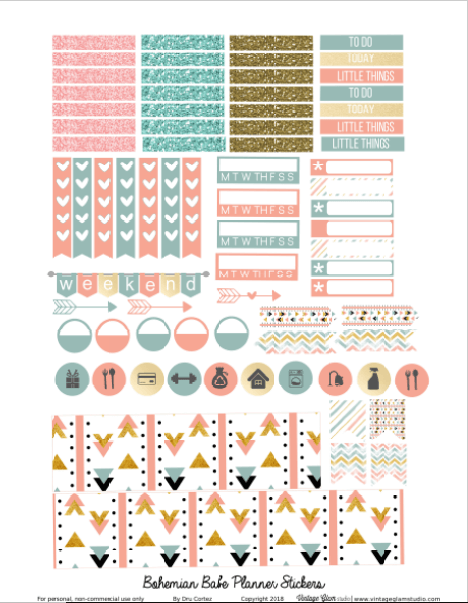 Bohemian Babe | planner stickers printable