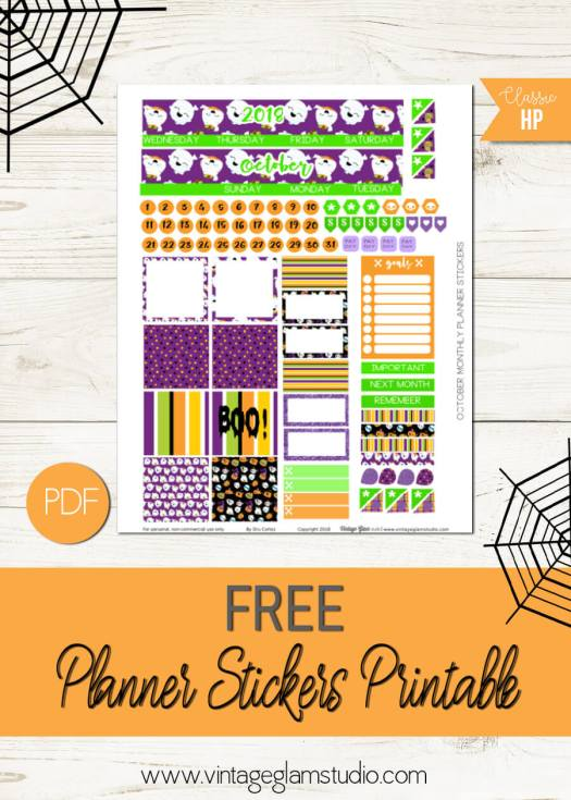 Oct Monthly Layout | Free planner stickers printable, for personal use
