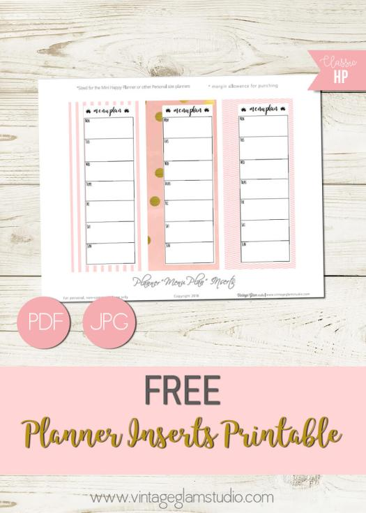 Planner Inserts Menu Checklists | free printable for personal use only