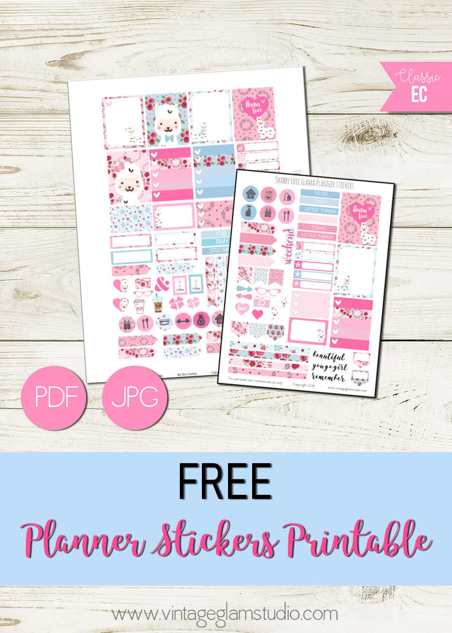 Shabby Chic Llama   Free printable for personal use only
