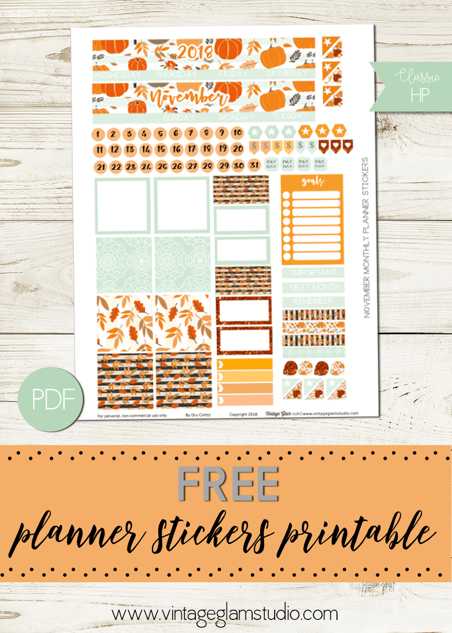 photograph about Happy Planner Monthly Layout Printable identify November Regular Design - Delighted Planner - Basic Glam Studio