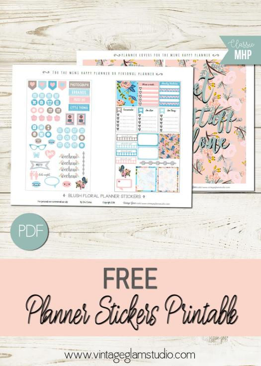 Blush Floral | mini happy planner planner stickers printable