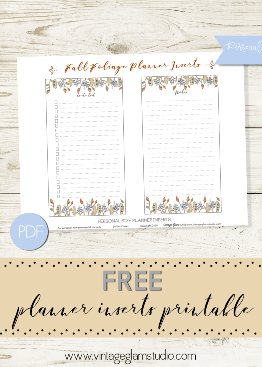 Fall Foliage - Planner inserts for personal planners