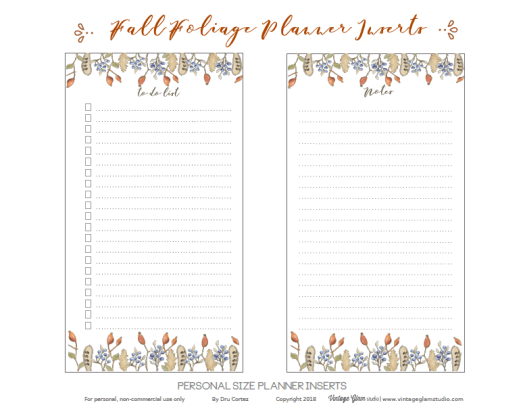 Personal Planner inserts printable