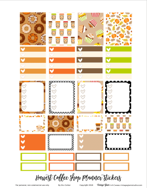 fall themed planner stickers printable