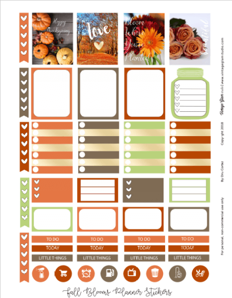 Fall Blooms planner stickers