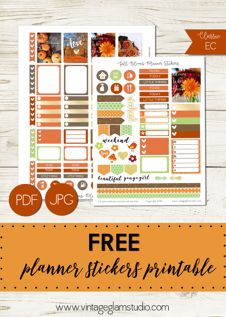 Fall Blooms | free planner sticker printable for personal use