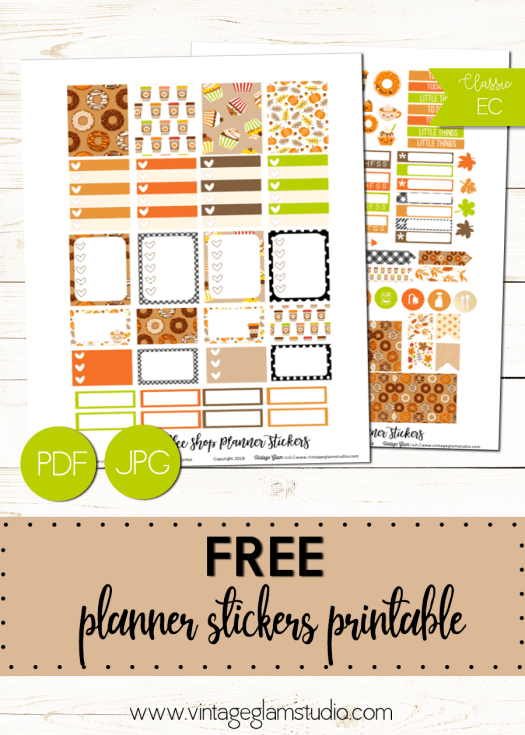 Harvest Coffee Shop | free planner stickers printable