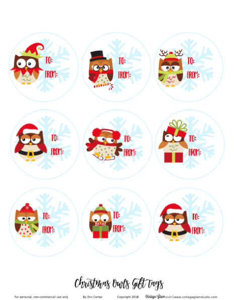 Christmas owls gift tags