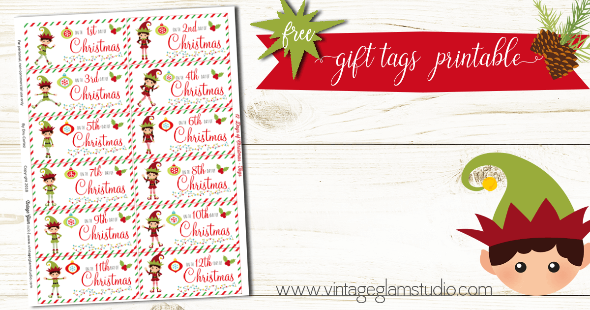 graphic regarding 12 Days of Christmas Printable named 12 Times of Xmas Present Tags - Absolutely free Printable - Common