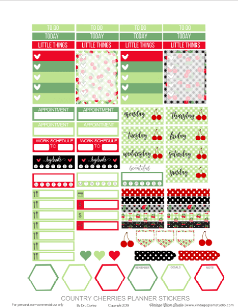 cherries planner stickers pg 2