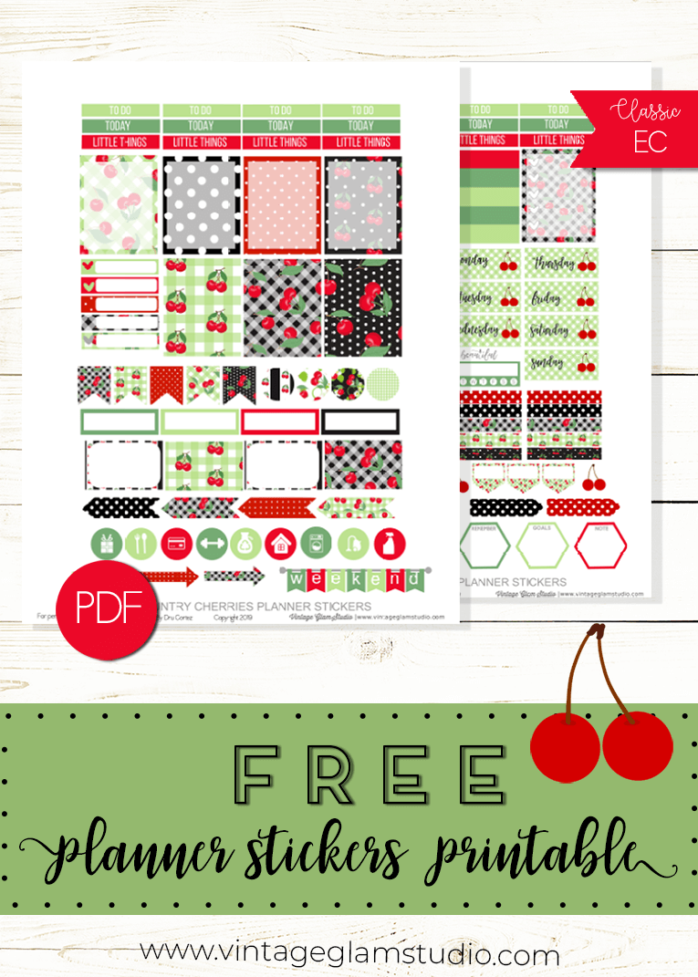 cherries planner stickers