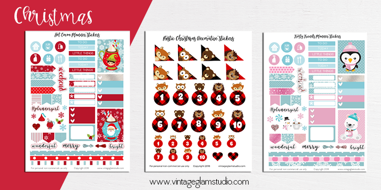 Christmas cricut ready planner stickers