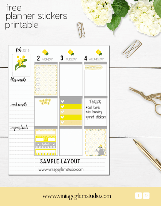 planner stickers layout or spread