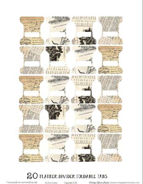 tabs vintage, free planner printable