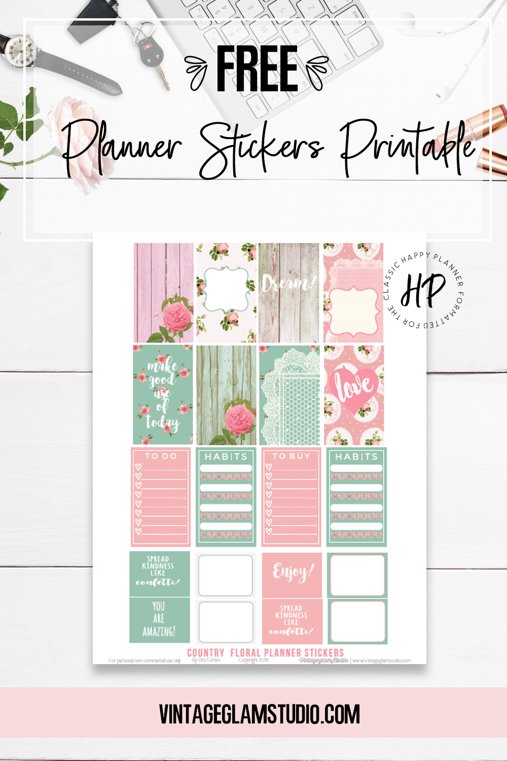 graphic about Happy Planner Free Printable Stickers referred to as satisfied planner Archives - Typical Glam Studio