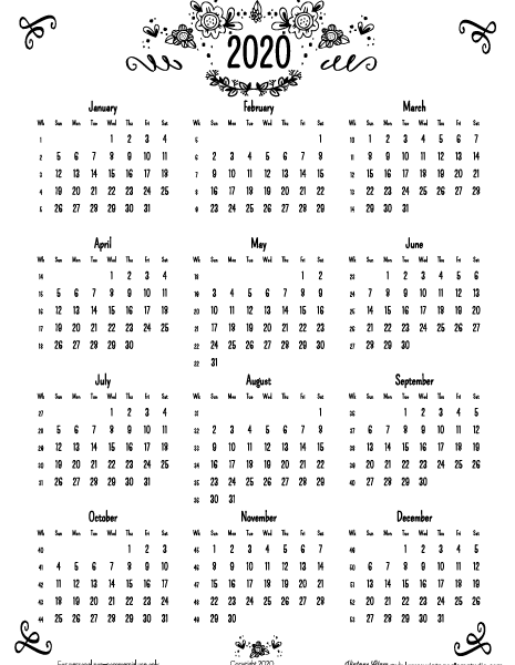 2020 annual calendar with weeks