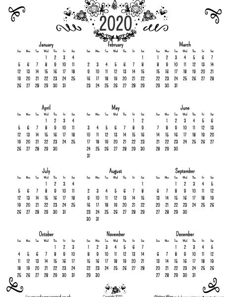 2020 annual calendar