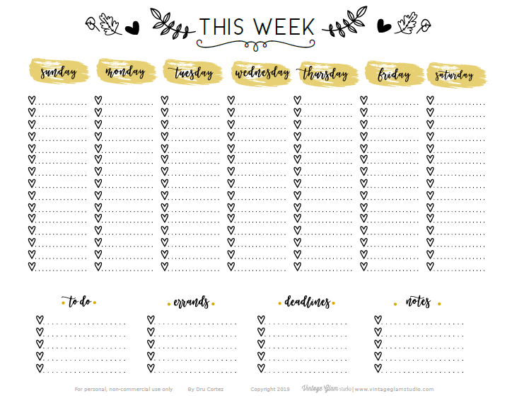 week at a glance worksheet
