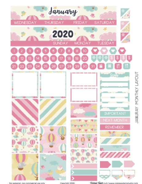 planner stickers monthly layout