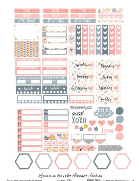 valentine's day planner stickers printable