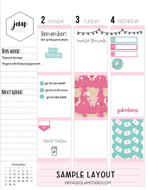 planner sample layout