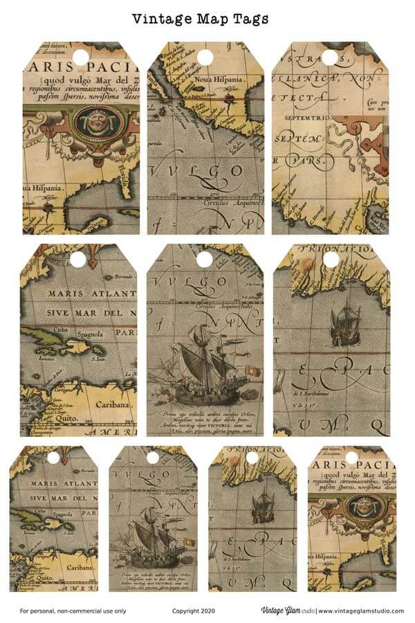 vintage map tags printable