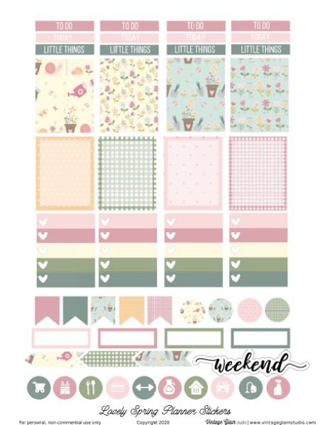 spring planner stickers printable