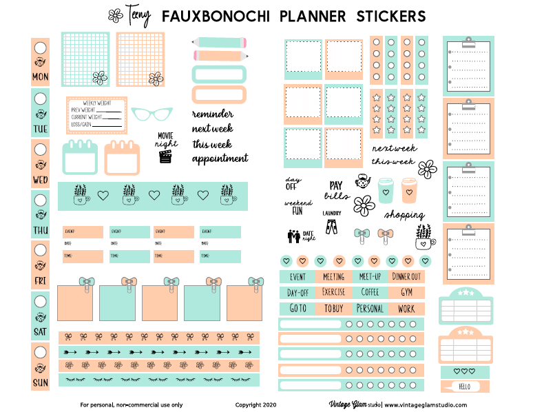 fauxbonichi planner stickers printable