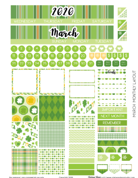 march monthly layout planner stickers