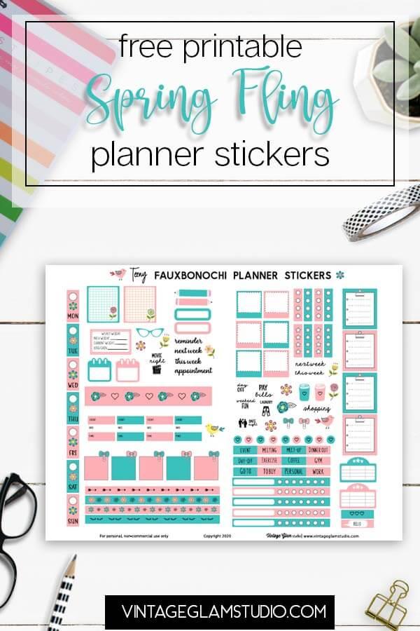 spring fling planner stickers