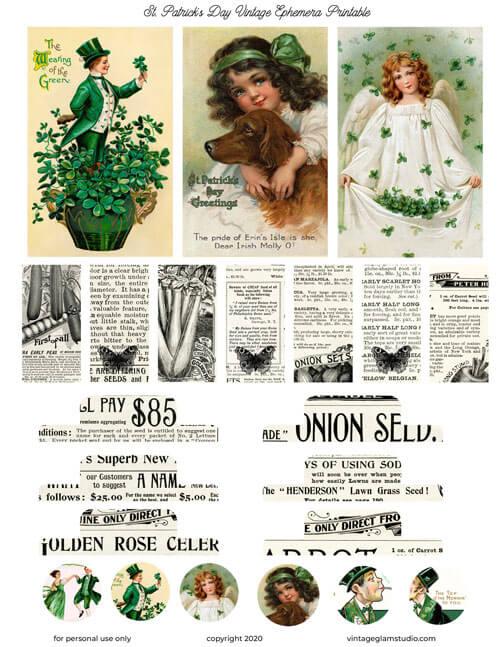 vintage st. patrick's day planner printable