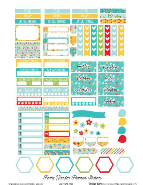 perky garden planner stickers printable